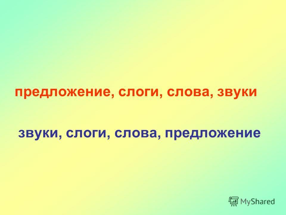 предложение, слоги, слова, звуки звуки, слоги, слова, предложение