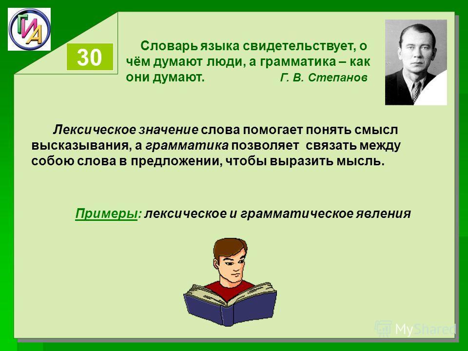 Словарь языка свидетельствует, о чём думают люди, а грамматика – как они думают. Г. В. Степанов 30 Лексическое значение слова помогает понять смысл высказывания, а грамматика позволяет связать между собою слова в предложении, чтобы выразить мысль. Пр