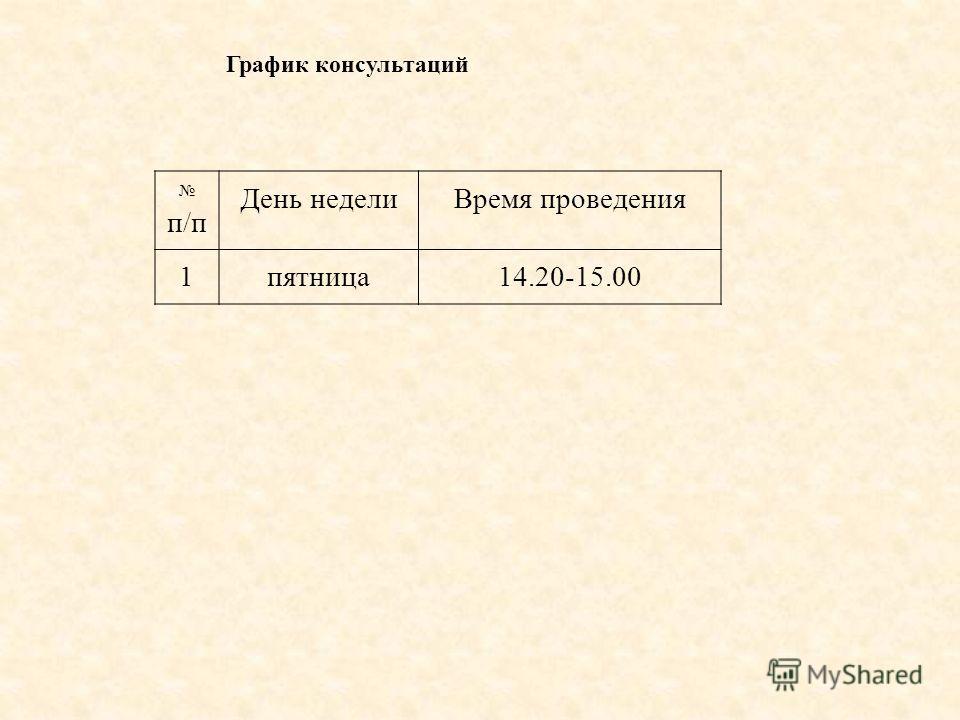 График консультаций п/п День недели Время проведения 1 пятница 14.20-15.00