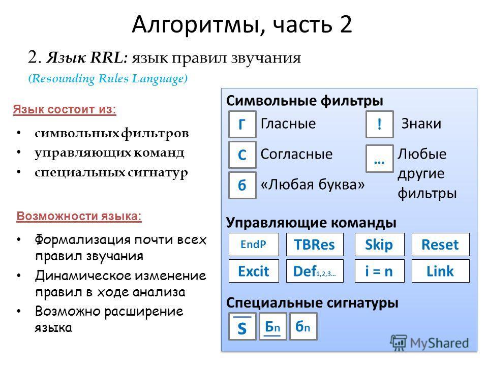 Алгоритмы, часть 2 Формализация почти всех правил звучания Динамическое изменение правил в ходе анализа Возможно расширение языка 2. Язык RRL: язык правил звучания символьных фильтров управляющих команд специальных сигнатур Язык состоит из: Возможнос