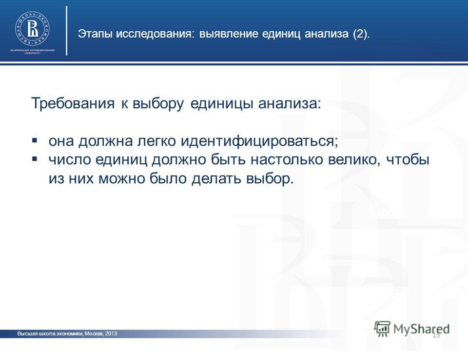 Высшая школа экономики, Москва, 2013 Этапы исследования: выявление единиц анализа (2). фото Требования к выбору единицы анализа: она должна легко идентифицироваться; число единиц должно быть настолько велико, чтобы из них можно было делать выбор. 15