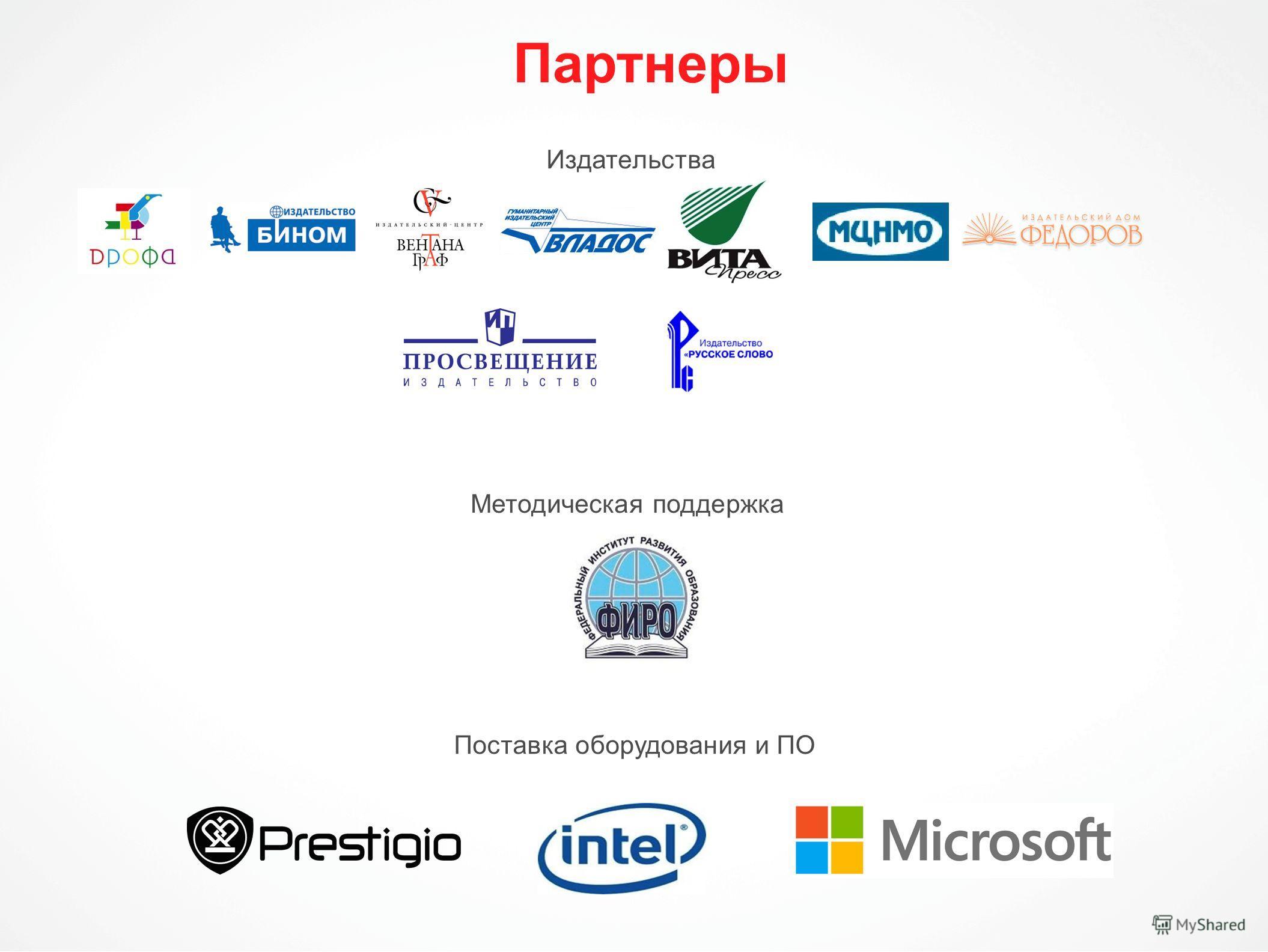 Партнеры Издательства Методическая поддержка Поставка оборудования и ПО