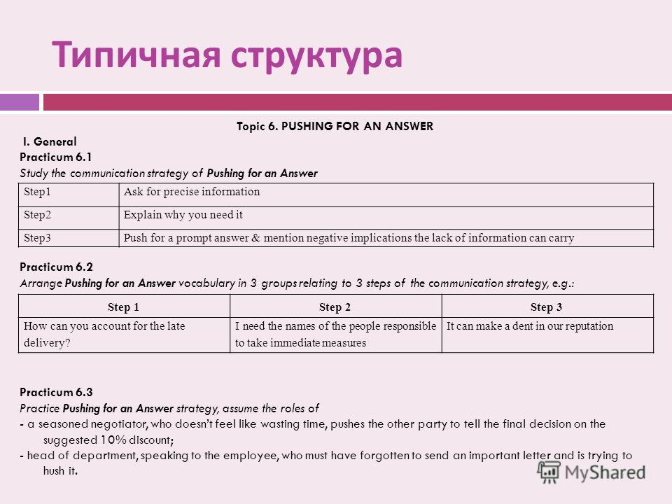Типичная структура Topic 6. PUSHING FOR AN ANSWER I. General Practicum 6.1 Study the communication strategy of Pushing for an Answer Practicum 6.2 Arrange Pushing for an Answer vocabulary in 3 groups relating to 3 steps of the communication strategy,