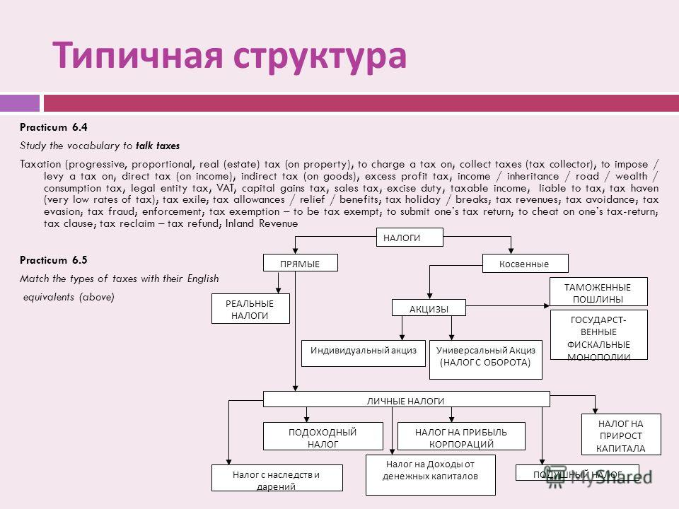 Типичная структура Practicum 6.4 Study the vocabulary to talk taxes Taxation (progressive, proportional, real (estate) tax (on property); to charge a tax on; collect taxes (tax collector); to impose / levy a tax on; direct tax (on income); indirect t