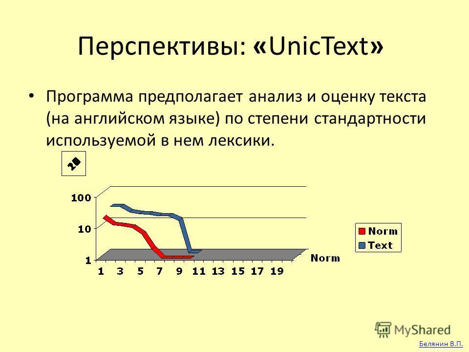 Перспективы: «UnicText» Программа предполагает анализ и оценку текста (на английском языке) по степени стандартности используемой в нем лексики. Белянин В.П.