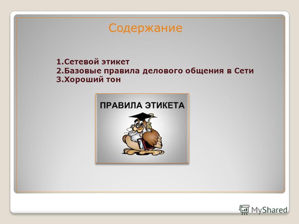 Содержание 1. Сетевой этикет 2. Базовые правила делового общения в Сети 3. Хороший тон