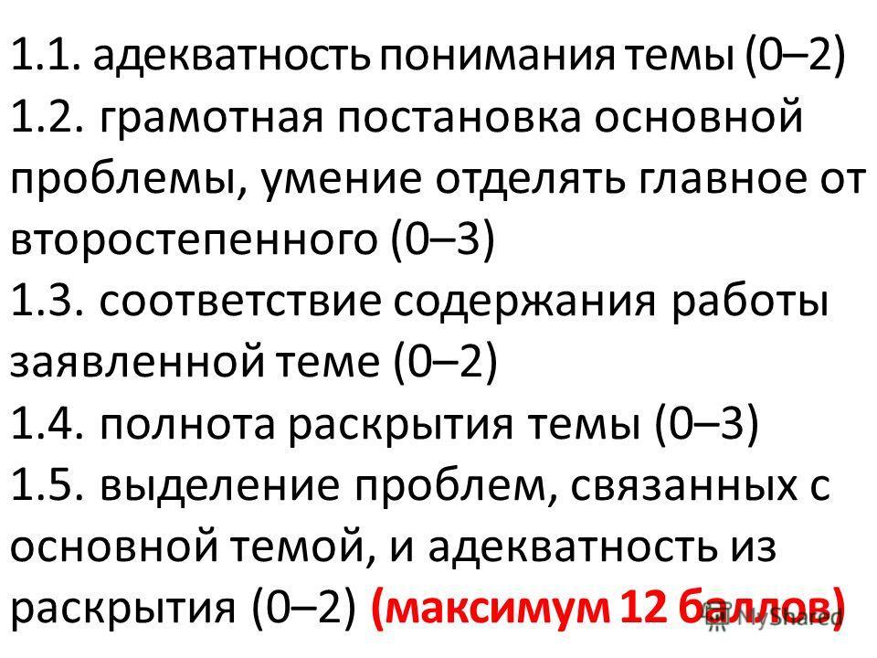 1.1. адекватность понимания темы (0–2) 1.2. грамотная постановка основной проблемы, умение отделять главное от второстепенного (0–3) 1.3. соответствие содержания работы заявленной теме (0–2) 1.4. полнота раскрытия темы (0–3) 1.5. выделение проблем, с