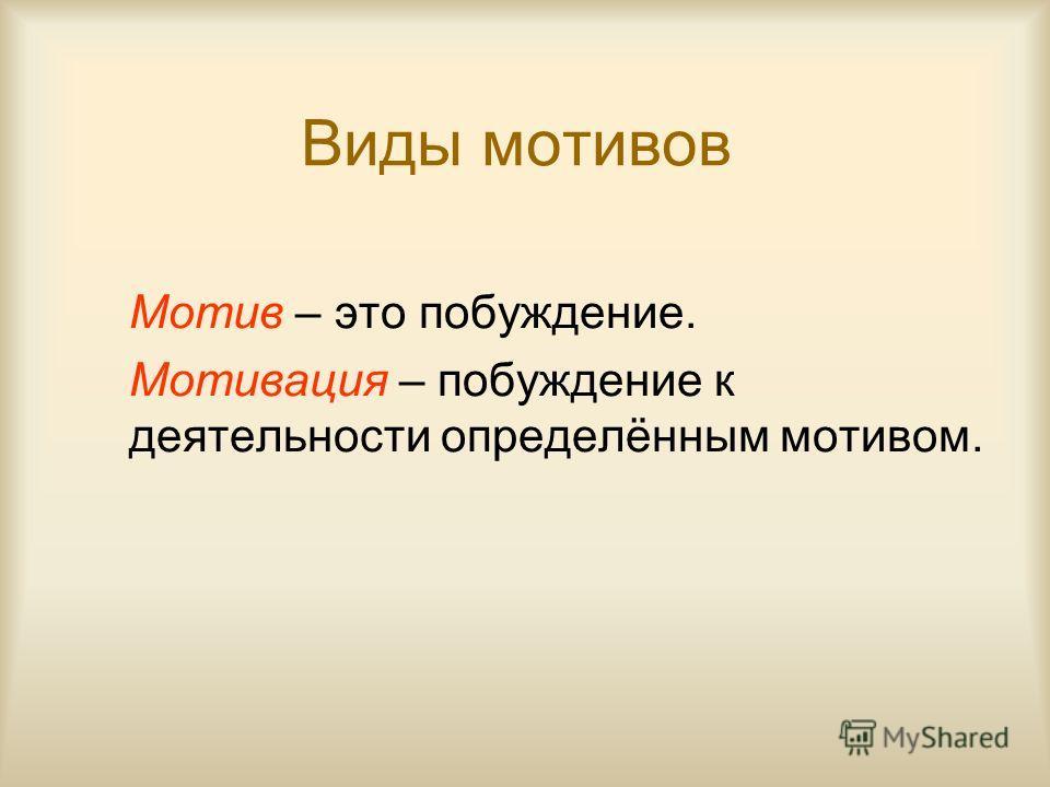 Виды мотивов Мотив – это побуждение. Мотивация – побуждение к деятельности определённым мотивом.