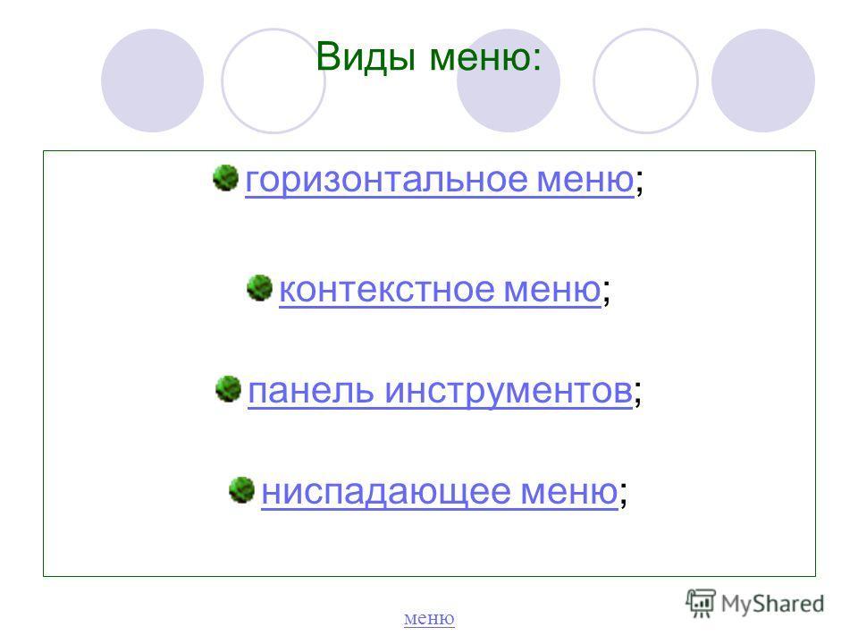 горизонтальное меню горизонтальное меню; контекстное меню контекстное меню; панель инструментов панель инструментов; ниспадающее меню ниспадающее меню; Виды меню: меню