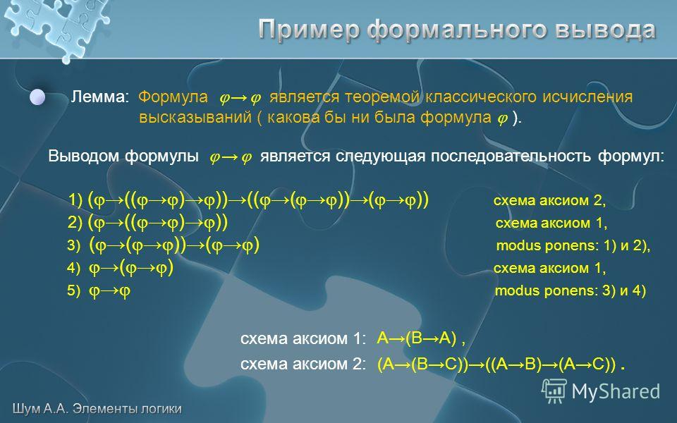 Лемма: Формула является теоремой классического исчисления высказываний ( какова бы ни была формула ). Выводом формулы является следующая последовательность формул: 1) ((( ) ))((( ))( )) схема аксиом 2, 2) ((( ) )) схема аксиом 1, 3) (( ))( ) modus po