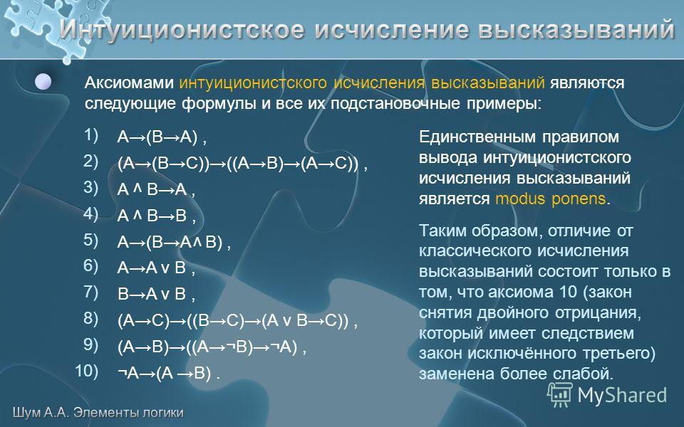 Аксиомами интуиционистского исчисления высказываний являются следующие формулы и все их подстановочные примеры: 1) 2) 3) 4) 5) 6) 7) 8) 9) 10) Единственным правилом вывода интуиционистского исчисления высказываний является modus ponens. Таким образом