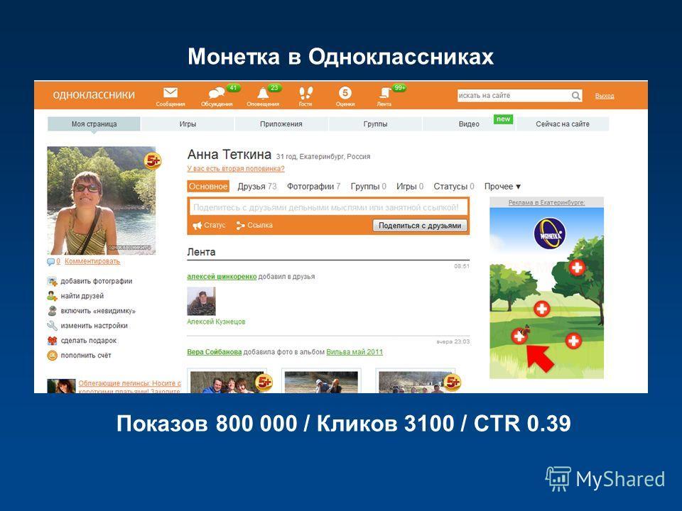 Монетка в Одноклассниках Показов 800 000 / Кликов 3100 / CTR 0.39