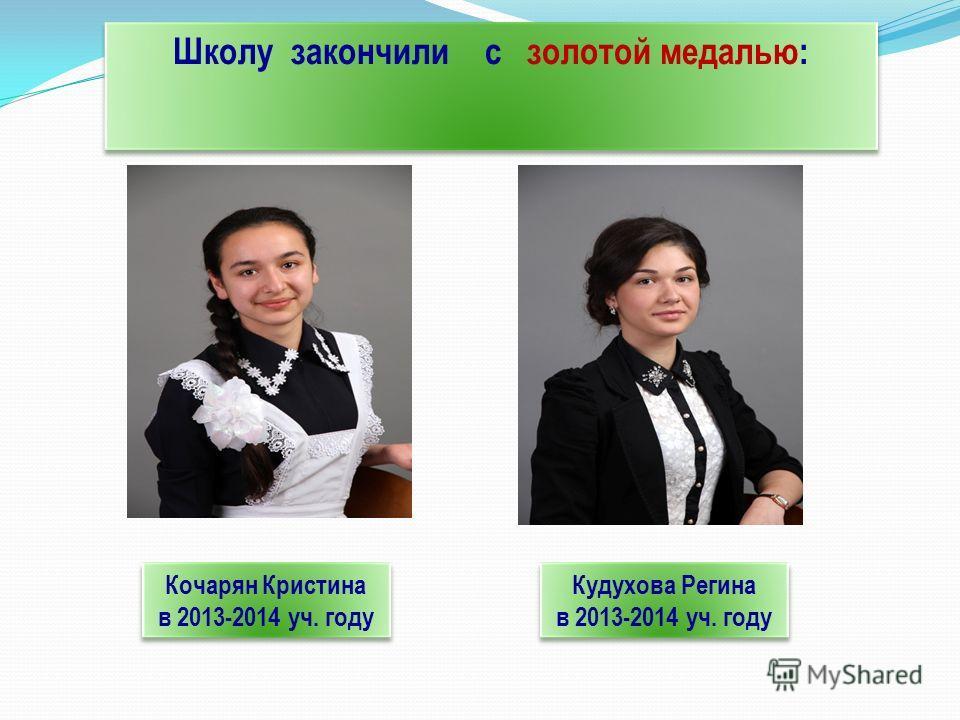 Школу закончили с золотой медалью: Кочарян Кристина в 2013-2014 уч. году Кочарян Кристина в 2013-2014 уч. году Кудухова Регина в 2013-2014 уч. году Кудухова Регина в 2013-2014 уч. году
