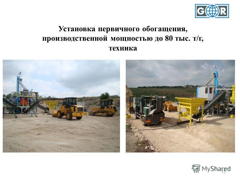 Установка первичного обогащения, производственной мощностью до 80 тыс. т/г, техника 15