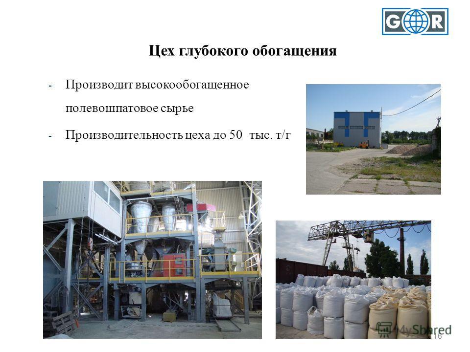 16 Цех глубокого обогащения - Производит высокообогащенное полевошпатовое сырье - Производительность цеха до 50 тыс. т/г