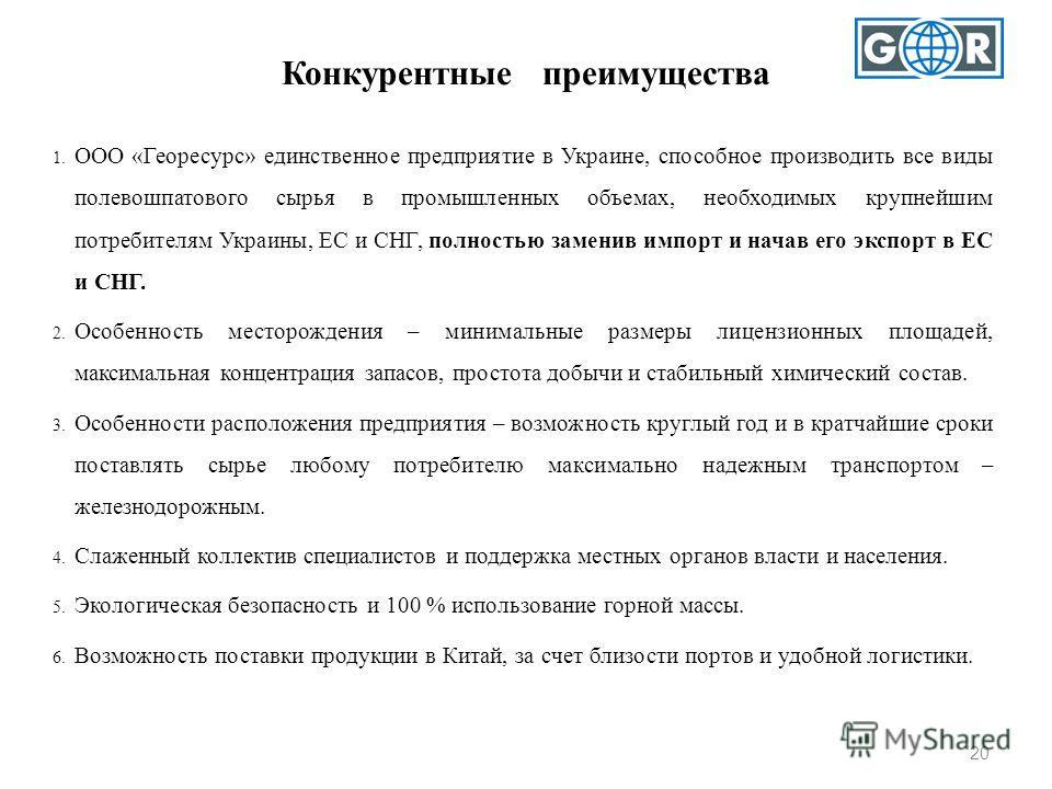 Конкурентные преимущества 20 1. ООО «Георесурс» единственное предприятие в Украине, способное производить все виды полевошпатового сырья в промышленных объемах, необходимых крупнейшим потребителям Украины, ЕС и СНГ, полностью заменив импорт и начав е
