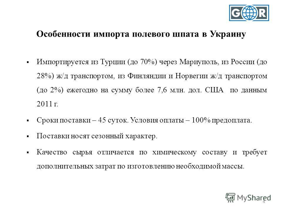4 Особенности импорта полевого шпата в Украину Импортируется из Турции (до 70%) через Мариуполь, из России (до 28%) ж/д транспортом, из Финляндии и Норвегии ж/д транспортом (до 2%) ежегодно на сумму более 7,6 млн. дол. США по данным 2011 г. Сроки пос