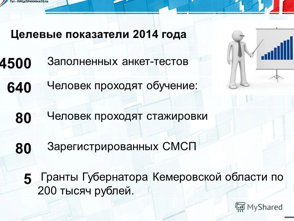 Целевые показатели 2014 года 4500 Заполненных анкет-тестов 640 Человек проходят обучение: 80 Человек проходят стажировки 80 Зарегистрированных СМСП 5 Гранты Губернатора Кемеровской области по 200 тысяч рублей.