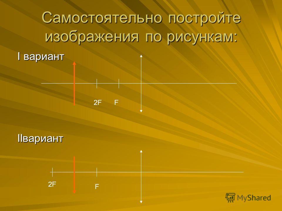 Самостоятельно постройте изображения по рисункам: I вариант IIвариант F2F F