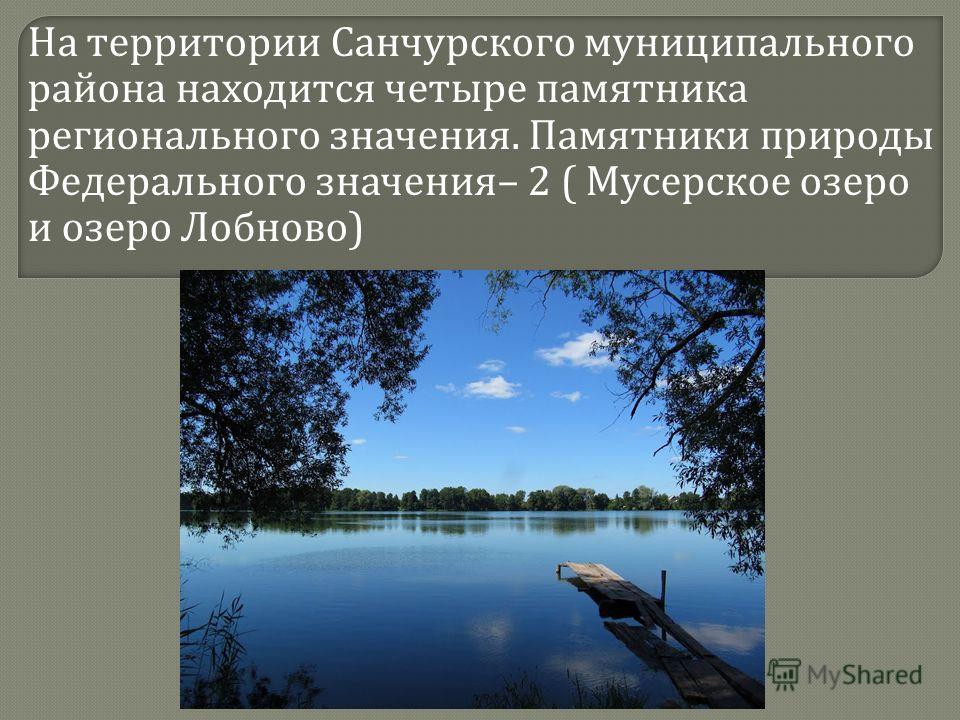 На территории Санчурского муниципального района находится четыре памятника регионального значения. Памятники природы Федерального значения – 2 ( Мусерское озеро и озеро Лобново )