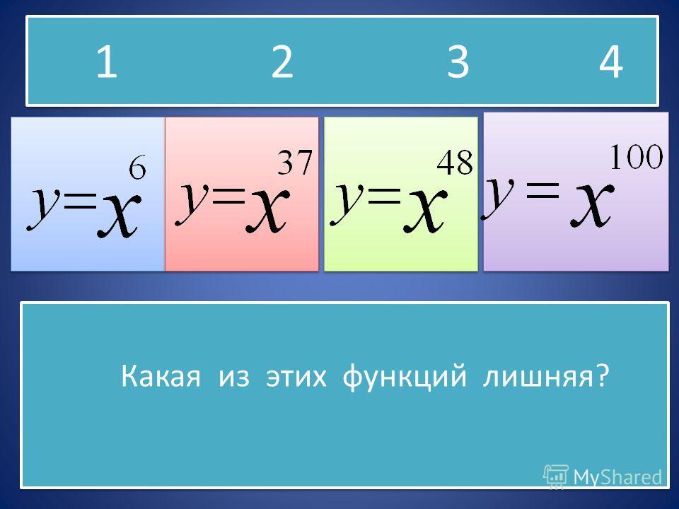 Какая из этих функций лишняя? Какая из этих функций лишняя? 1 2 3 4
