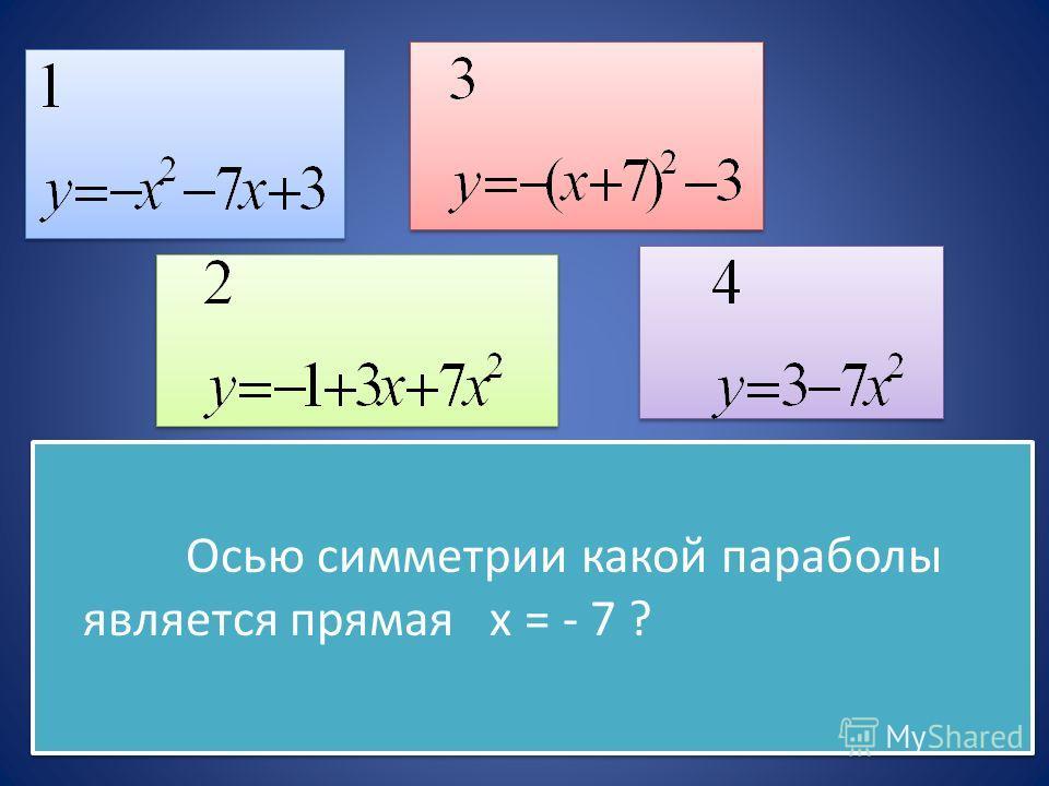 Осью симметрии какой параболы является прямая х = - 7 ? Осью симметрии какой параболы является прямая х = - 7 ?
