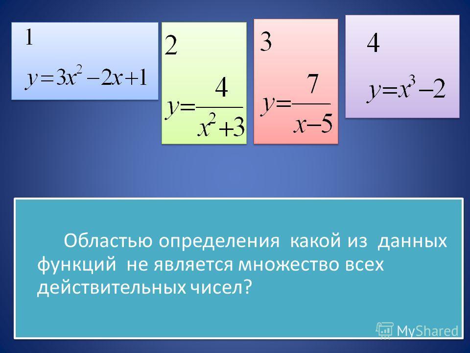 Областью определения какой из данных функций не является множество всех действительных чисел? Областью определения какой из данных функций не является множество всех действительных чисел?