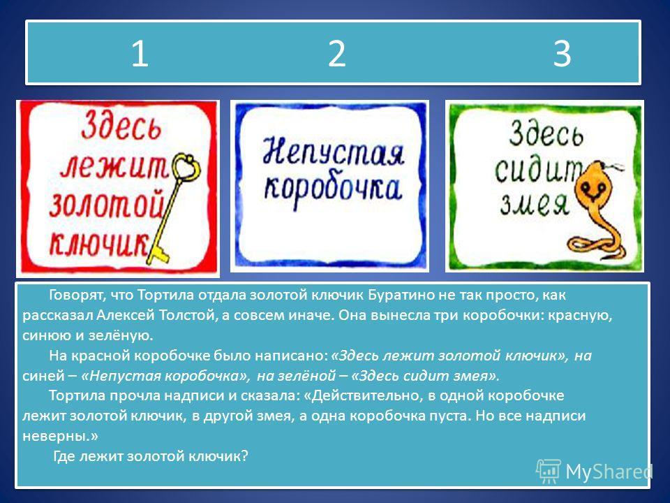 1 2 3 Говорят, что Тортила отдала золотой ключик Буратино не так просто, как рассказал Алексей Толстой, а совсем иначе. Она вынесла три коробочки: красную, синюю и зелёную. На красной коробочке было написано: «Здесь лежит золотой ключик», на синей –