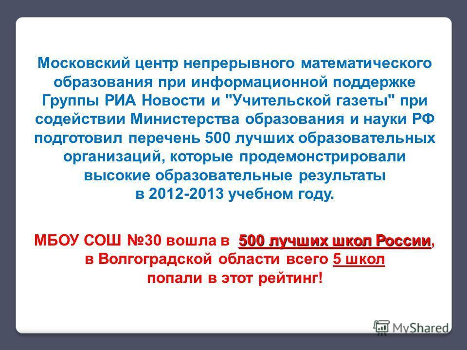 Московский центр непрерывного математического образования при информационной поддержке Группы РИА Новости и