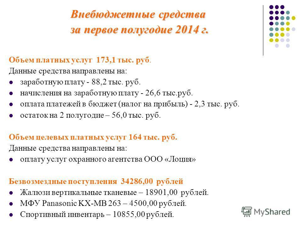 Внебюджетные средства за первое полугодие 2014 г. Объем платных услуг 173,1 тыс. руб. Данные средства направлены на: заработную плату - 88,2 тыс. руб. начисления на заработную плату - 26,6 тыс.руб. оплата платежей в бюджет (налог на прибыль) - 2,3 ты