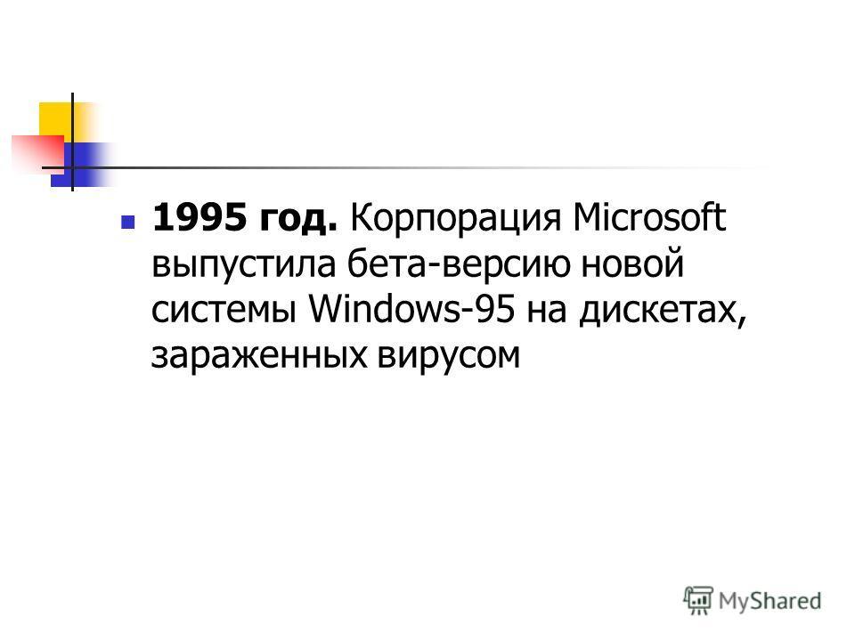 1995 год. Корпорация Microsoft выпустила бета-версию новой системы Windows-95 на дискетах, зараженных вирусом