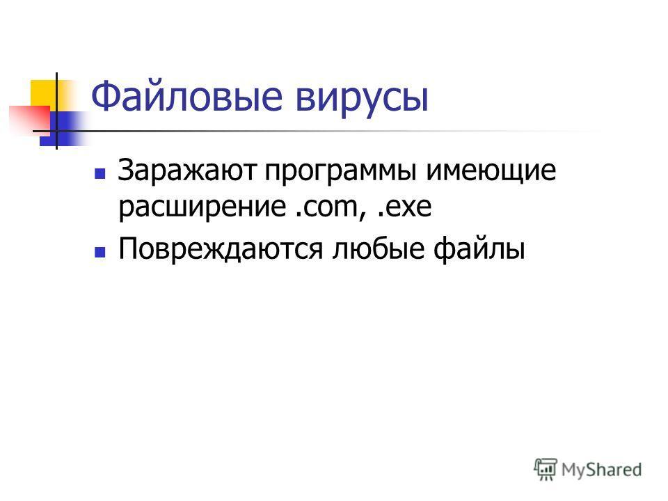 Файловые вирусы Заражают программы имеющие расширение.com,.exe Повреждаются любые файлы