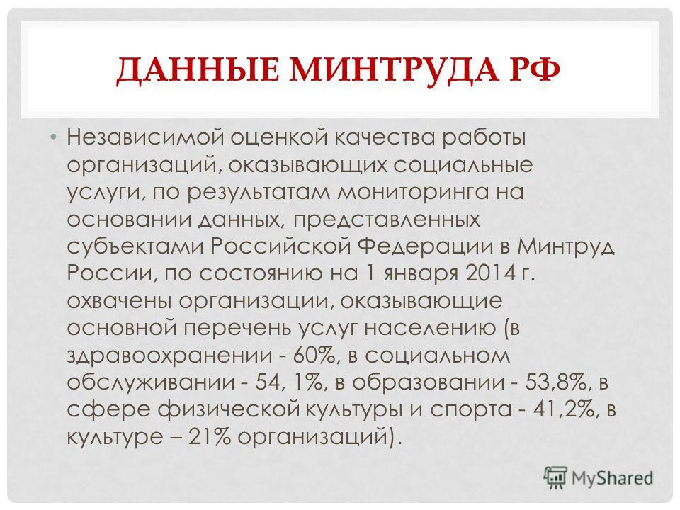 ДАННЫЕ МИНТРУДА РФ Независимой оценкой качества работы организаций, оказывающих социальные услуги, по результатам мониторинга на основании данных, представленных субъектами Российской Федерации в Минтруд России, по состоянию на 1 января 2014 г. охвач