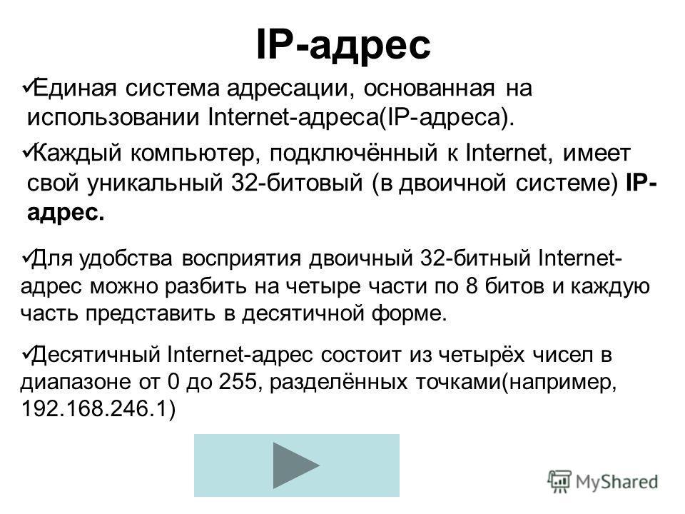 IP-адрес Единая система адресации, основанная на использовании Internet-адреса(IP-адреса). Каждый компьютер, подключённый к Internet, имеет свой уникальный 32-битовый (в двоичной системе) IP- адрес. Для удобства восприятия двоичный 32-битный Internet