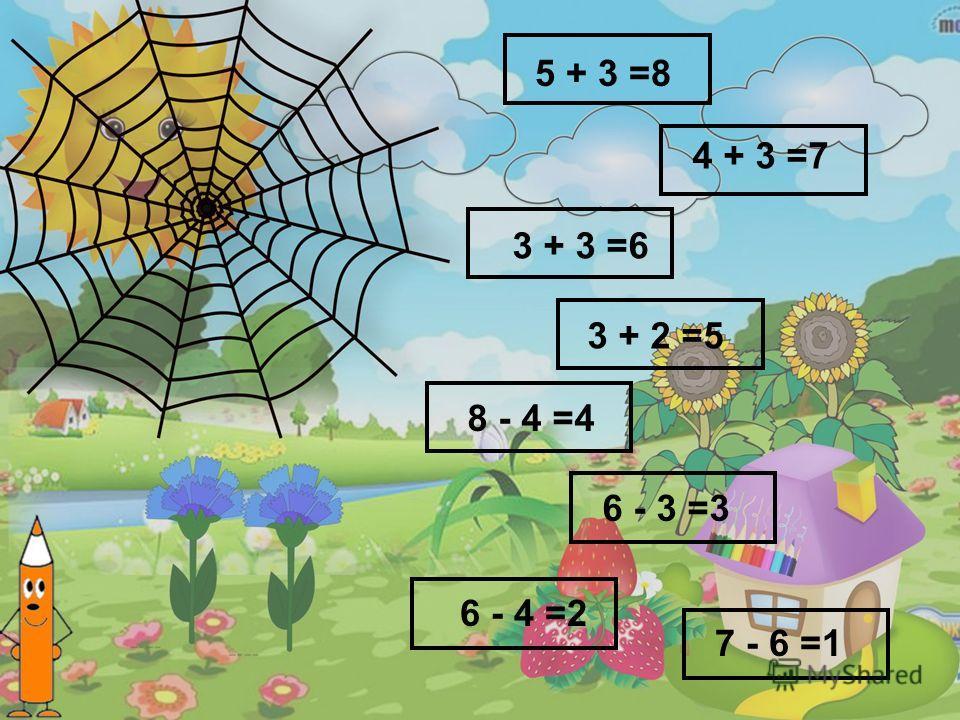 6 - 3 =3 5 + 3 =8 7 - 6 =1 8 - 4 =4 4 + 3 =7 3 + 2 =5 6 - 4 =2 3 + 3 =6
