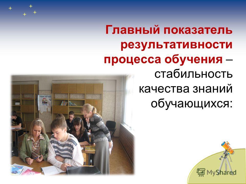 Главный показатель результативности процесса обучения – стабильность качества знаний обучающихся: