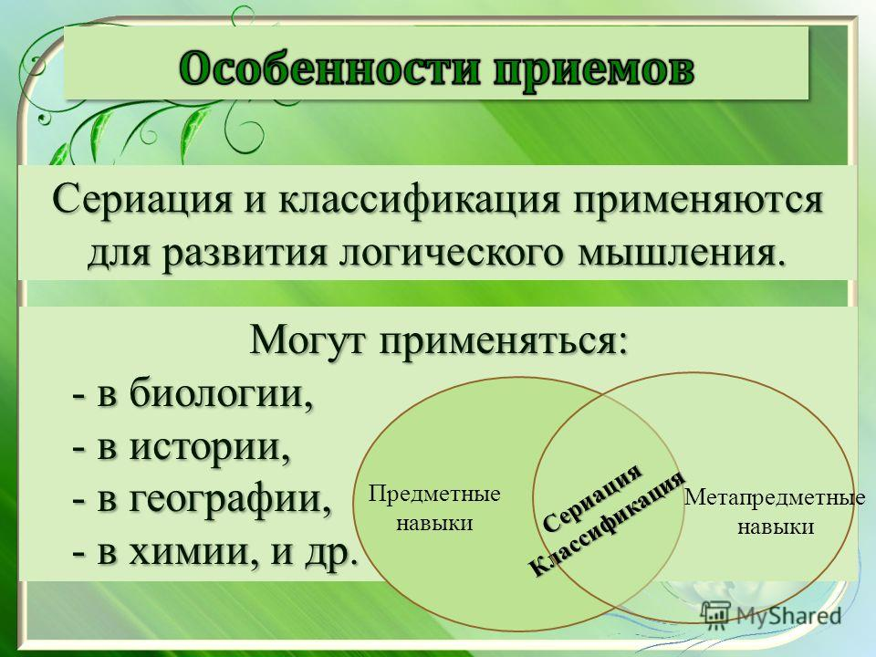Сериация и классификация применяются для развития логического мышления. Могут применяться: - в биологии, - в истории, - в географии, - в химии, и др. Предметные навыки Метапредметные навыки Сериация Классификация