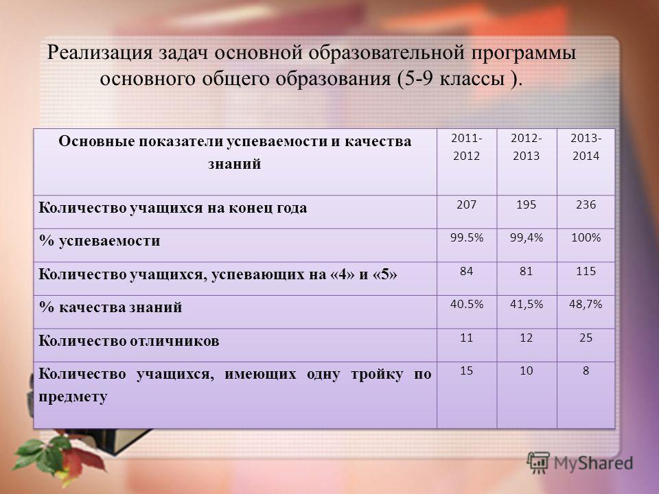 Реализация задач основной образовательной программы основного общего образования (5-9 классы ).