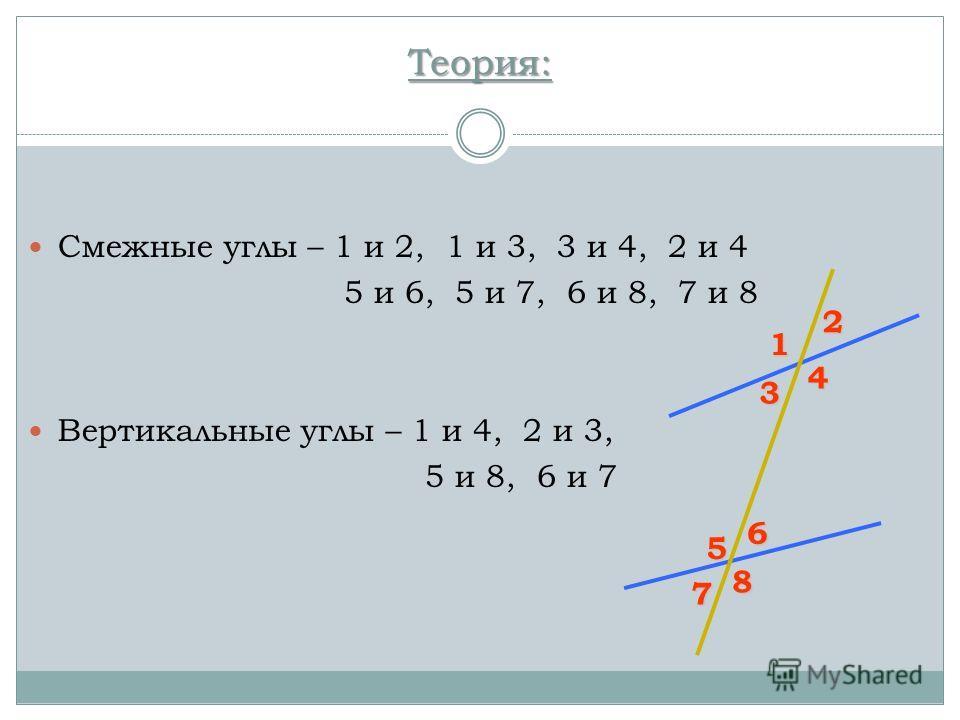 Теория: Смежные углы – 1 и 2, 1 и 3, 3 и 4, 2 и 4 5 и 6, 5 и 7, 6 и 8, 7 и 8 Вертикальные углы – 1 и 4, 2 и 3, 5 и 8, 6 и 7 1 2 3 4 5 6 7 8