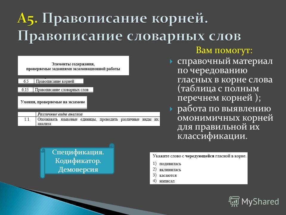 Вам помогут: справочный материал по чередованию гласных в корне слова (таблица с полным перечнем корней ); работа по выявлению омонимичных корней для правильной их классификации. Спецификация. Кодификатор. Демоверсия