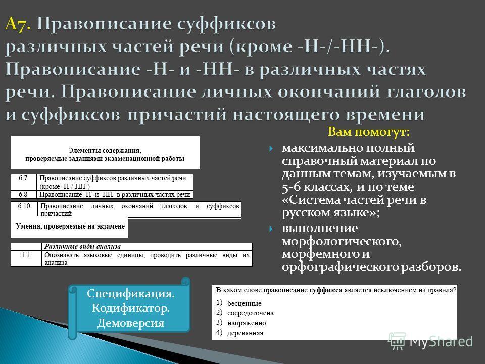 Вам помогут: максимально полный справочный материал по данным темам, изучаемым в 5-6 классах, и по теме «Система частей речи в русском языке»; выполнение морфологического, морфемного и орфографического разборов. Спецификация. Кодификатор. Демоверсия