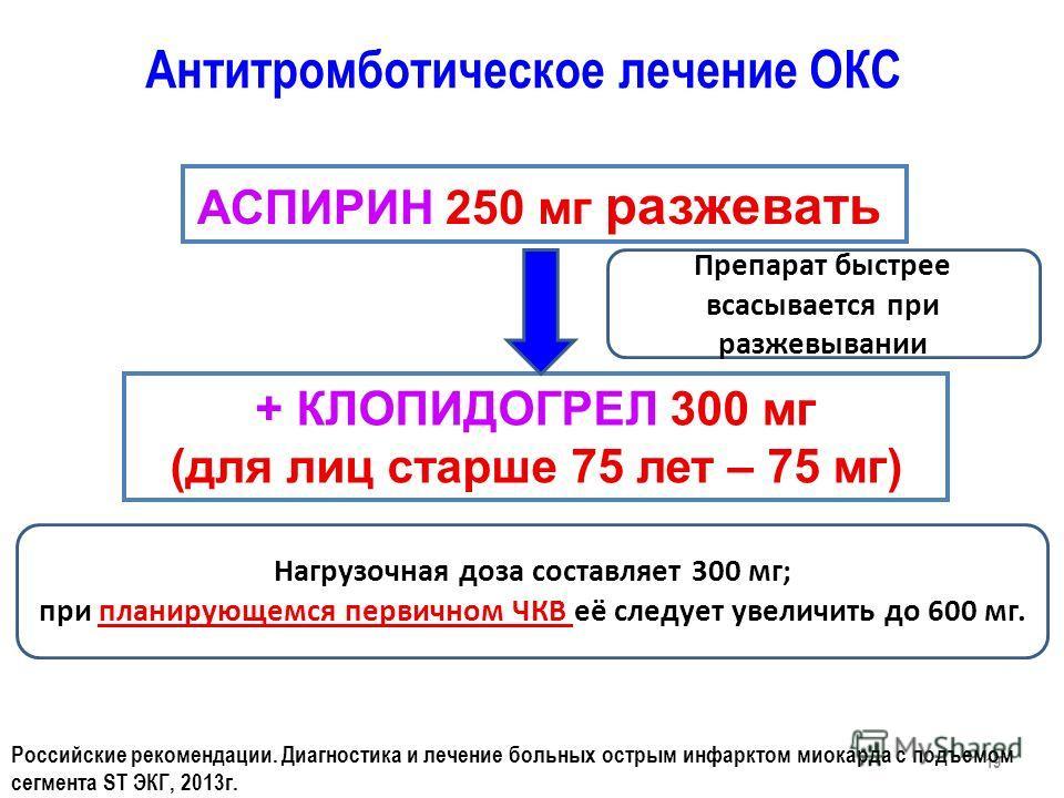 + КЛОПИДОГРЕЛ 300 мг (для лиц старше 75 лет – 75 мг) Антитромботическое лечение ОКС АСПИРИН 250 мг разжевать 19 Российские рекомендации. Диагностика и лечение больных острым инфарктом миокарда с подъемом сегмента ST ЭКГ, 2013 г. Препарат быстрее всас