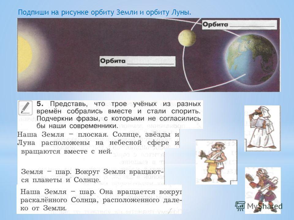Подпиши на рисунке орбиту Земли и орбиту Луны.