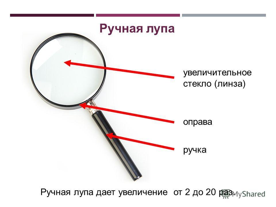 увеличительное стекло (линза) ручка Ручная лупа дает увеличение от 2 до 20 раз. оправа Ручная лупа