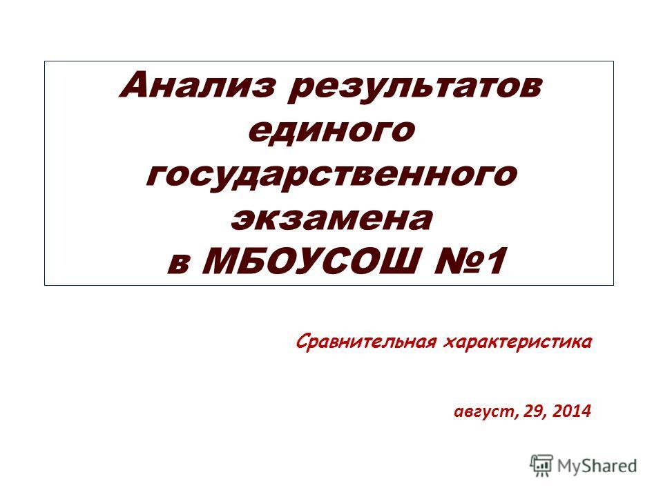 Анализ результатов единого государственного экзамена в МБОУСОШ 1 Сравнительная характеристика август, 29, 2014