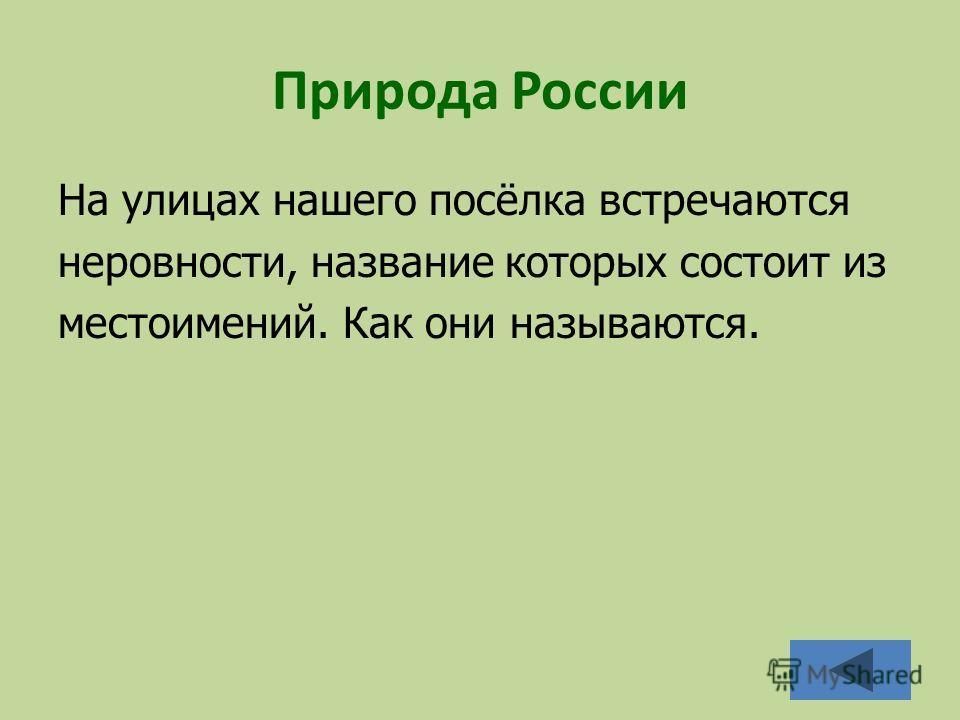 Природа России На улицах нашего посёлка встречаются неровности, название которых состоит из местоимений. Как они называются.