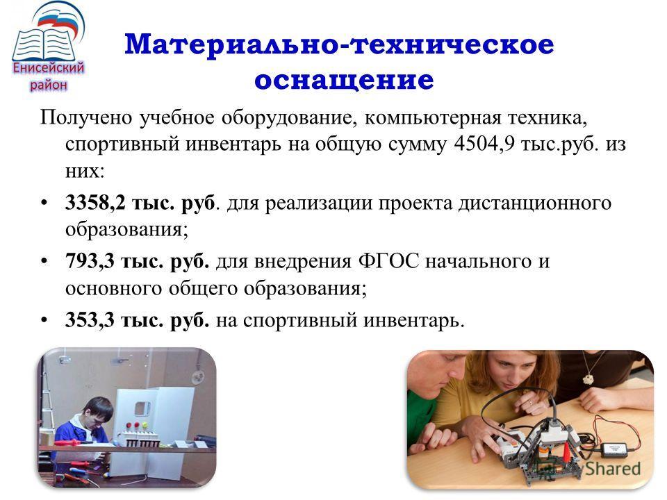 Материально-техническое оснащение Получено учебное оборудование, компьютерная техника, спортивный инвентарь на общую сумму 4504,9 тыс.руб. из них: 3358,2 тыс. руб. для реализации проекта дистанционного образования; 793,3 тыс. руб. для внедрения ФГОС