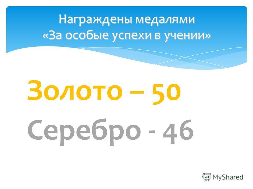 Золото – 50 Серебро - 46 Награждены медалями «За особые успехи в учении»