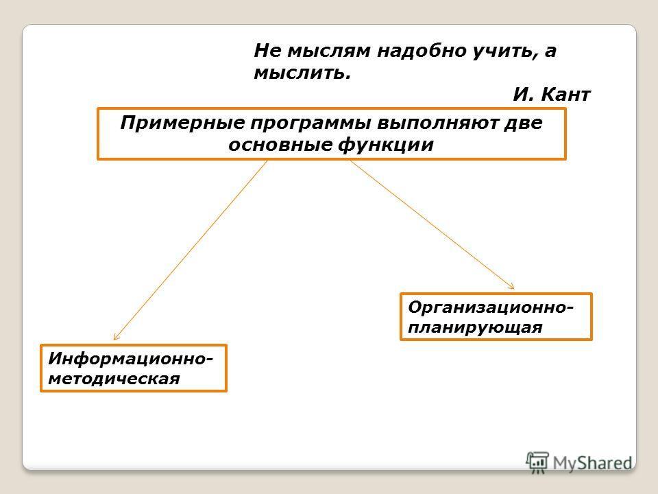 Не мыслям надобно учить, а мыслить. И. Кант Примерные программы выполняют две основные функции Организационно- планирующая Информационно- методическая