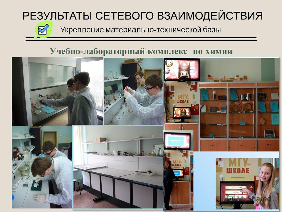 РЕЗУЛЬТАТЫ СЕТЕВОГО ВЗАИМОДЕЙСТВИЯ Укрепление материально-технической базы Учебно-лабораторный комплекс по химии